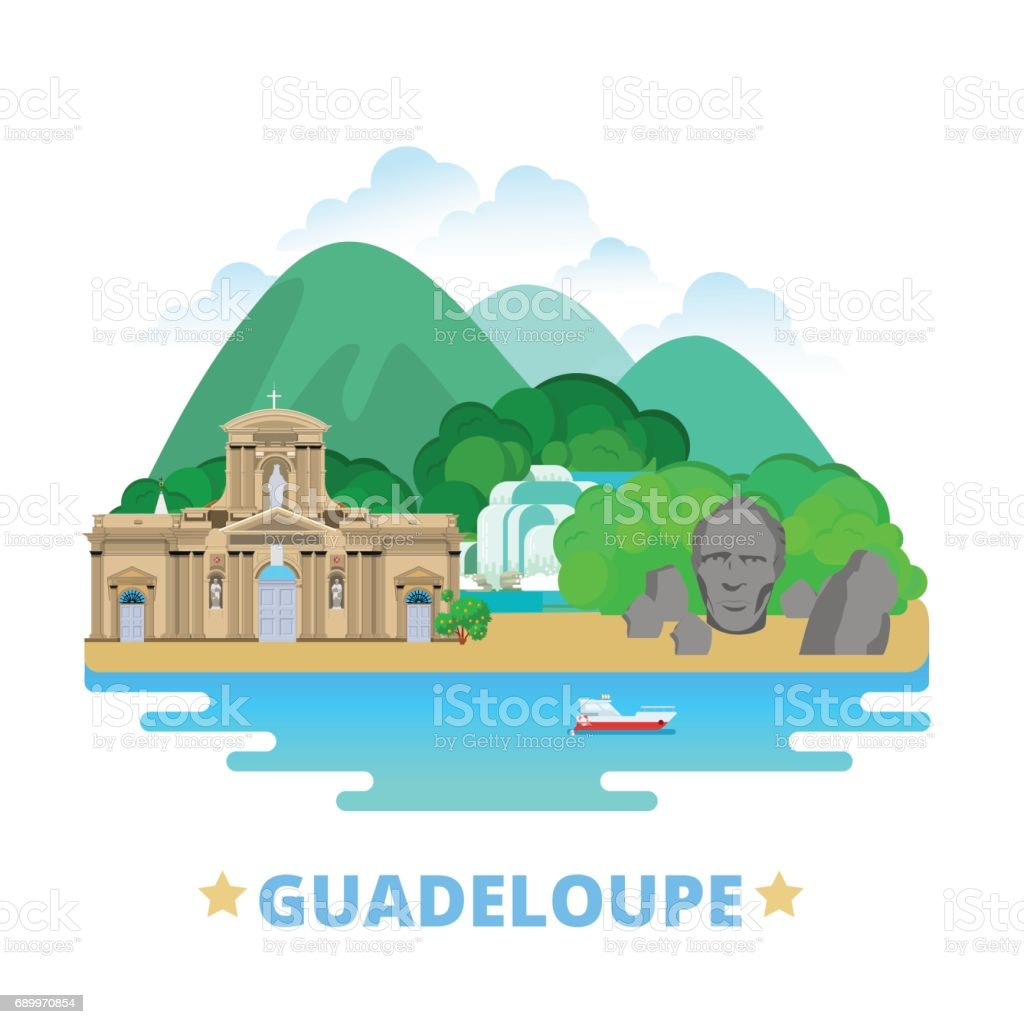 Guadeloupe country badge fridge magnet design template. Flat cartoon style historic sight showplace web site vector illustration. World vacation travel sightseeing North America collection. Fort Delgres Basse-Terre Cathedral. vector art illustration