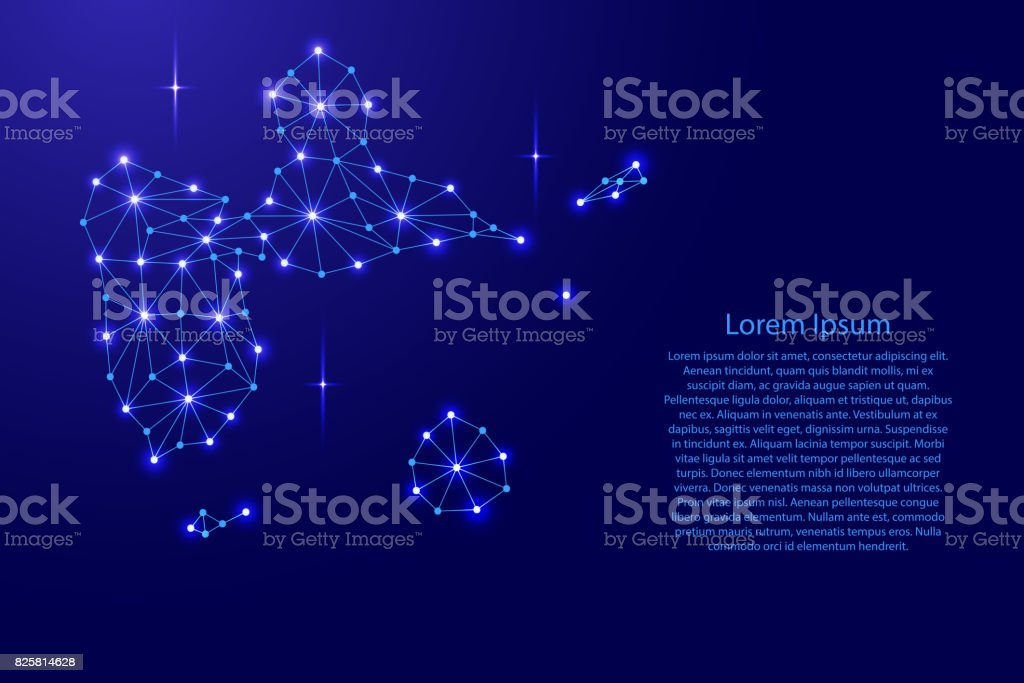 Guadeloupe map of polygonal mosaic lines network, rays and space stars of vector illustration. vector art illustration
