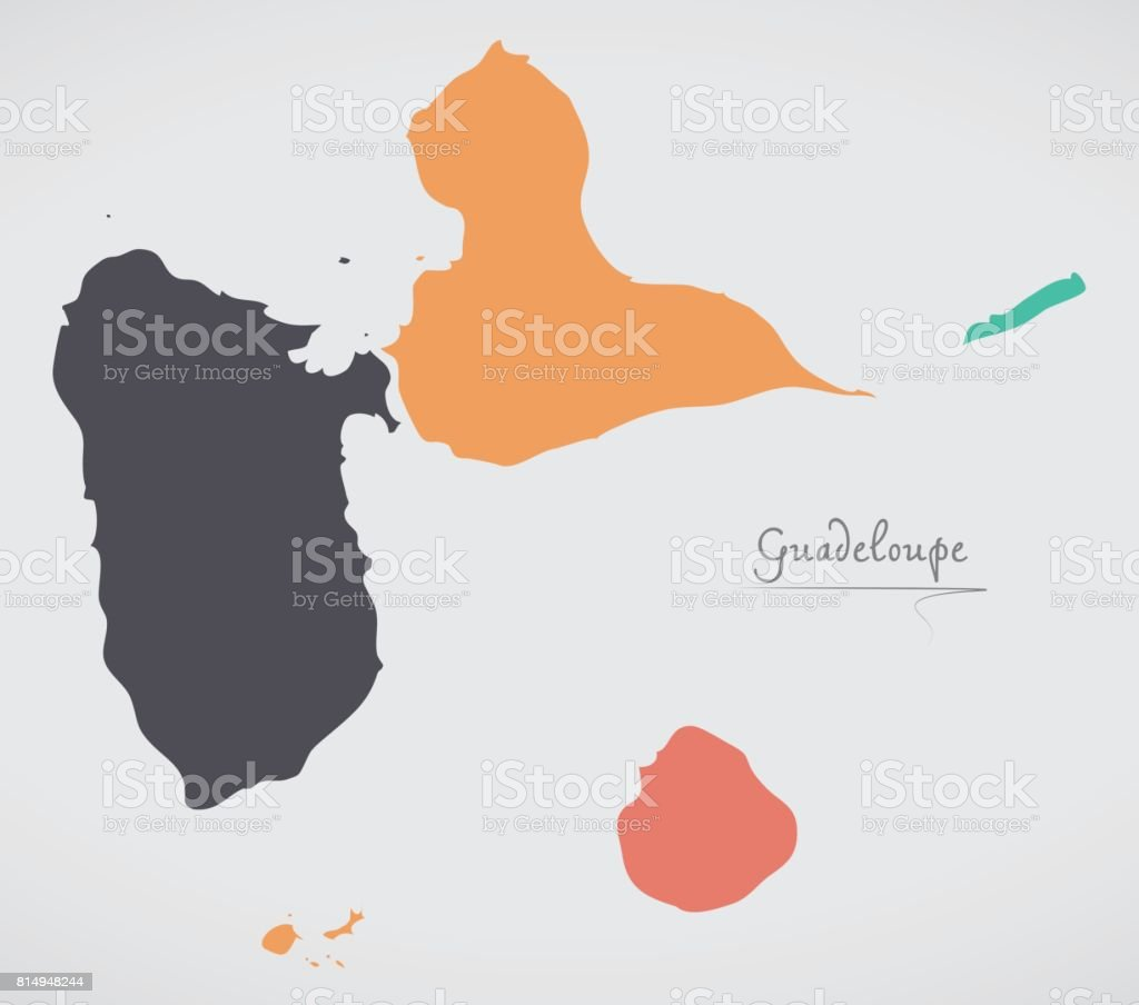 Guadeloupe Map with states and modern round shapes vector art illustration