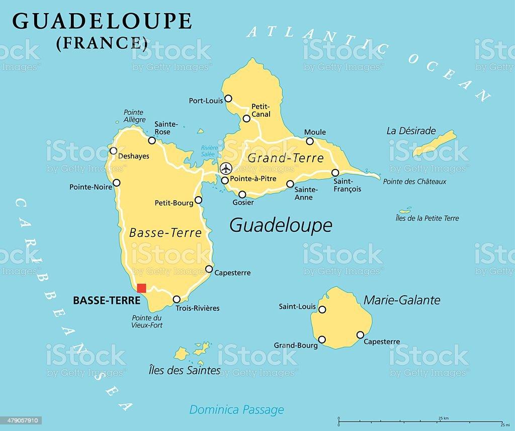 Guadeloupe Political Map vector art illustration