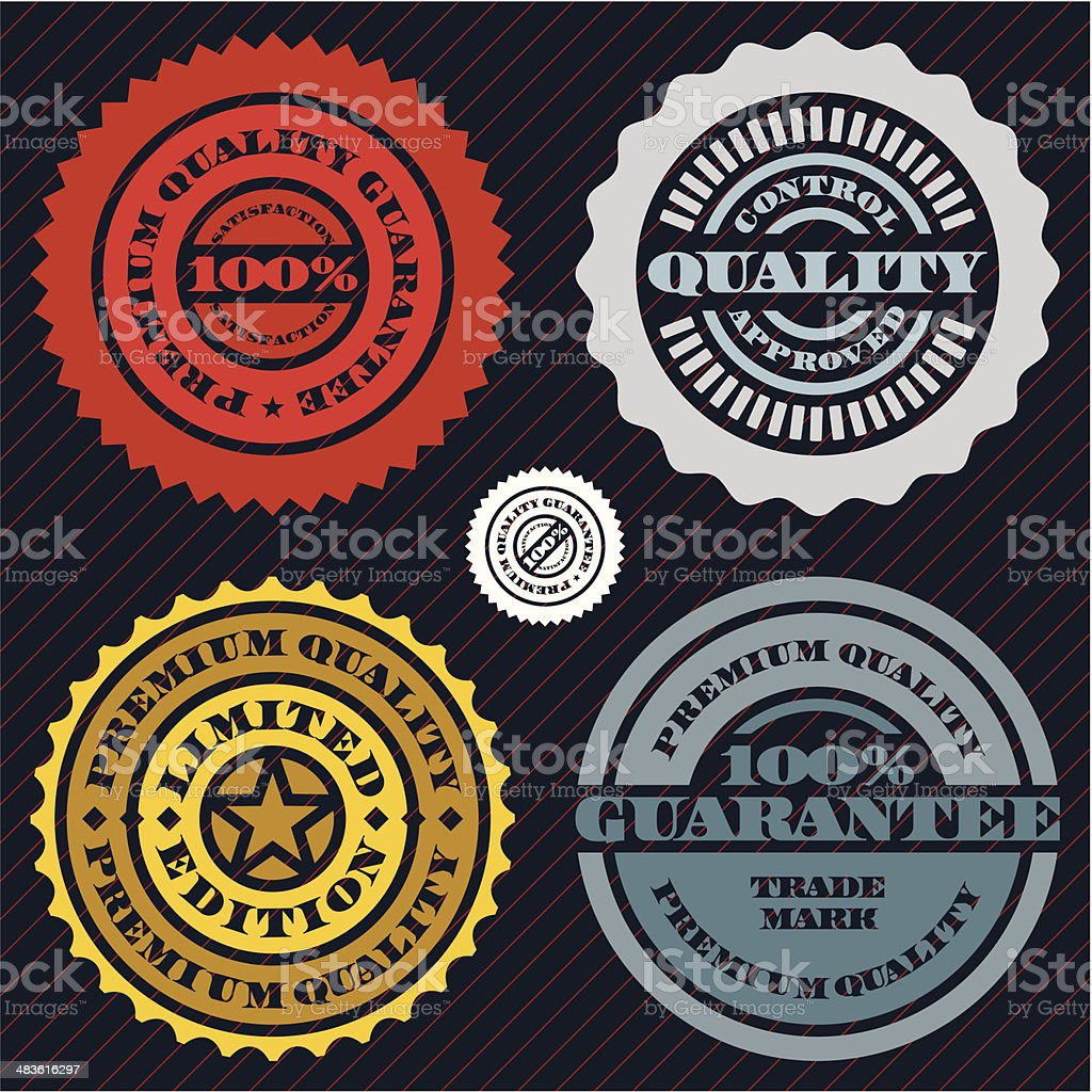 Guarantee stamp set royalty-free stock vector art