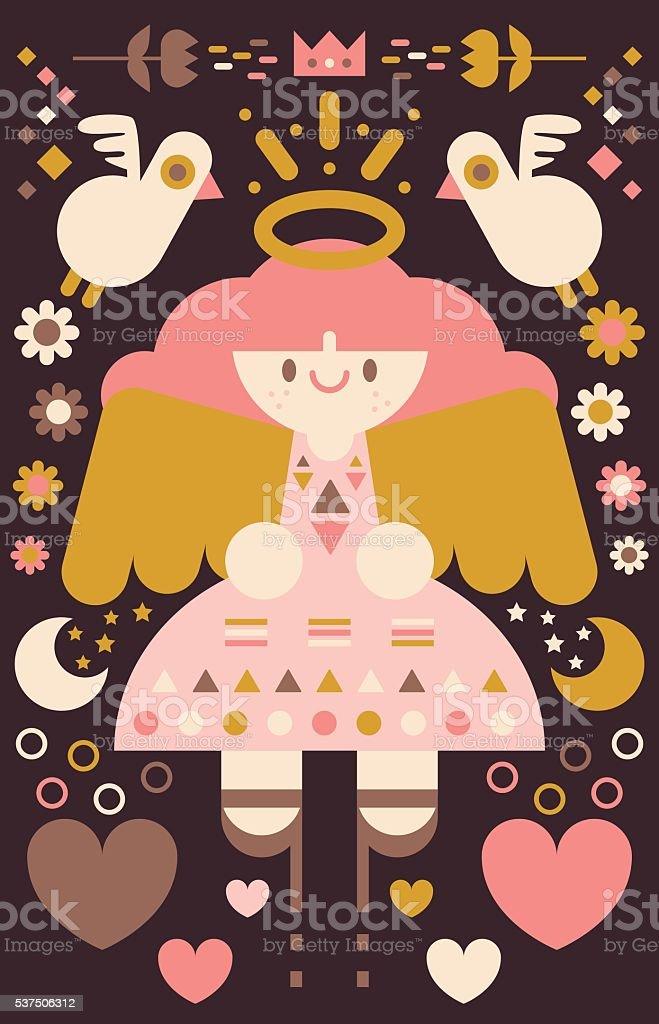 Guardian Angel vector art illustration