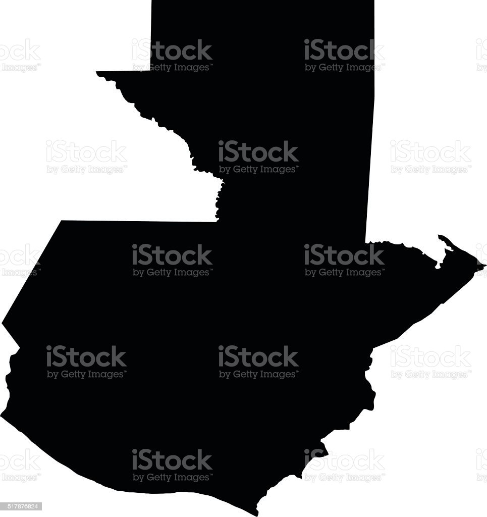 Guatemala black map on white background vector vector art illustration