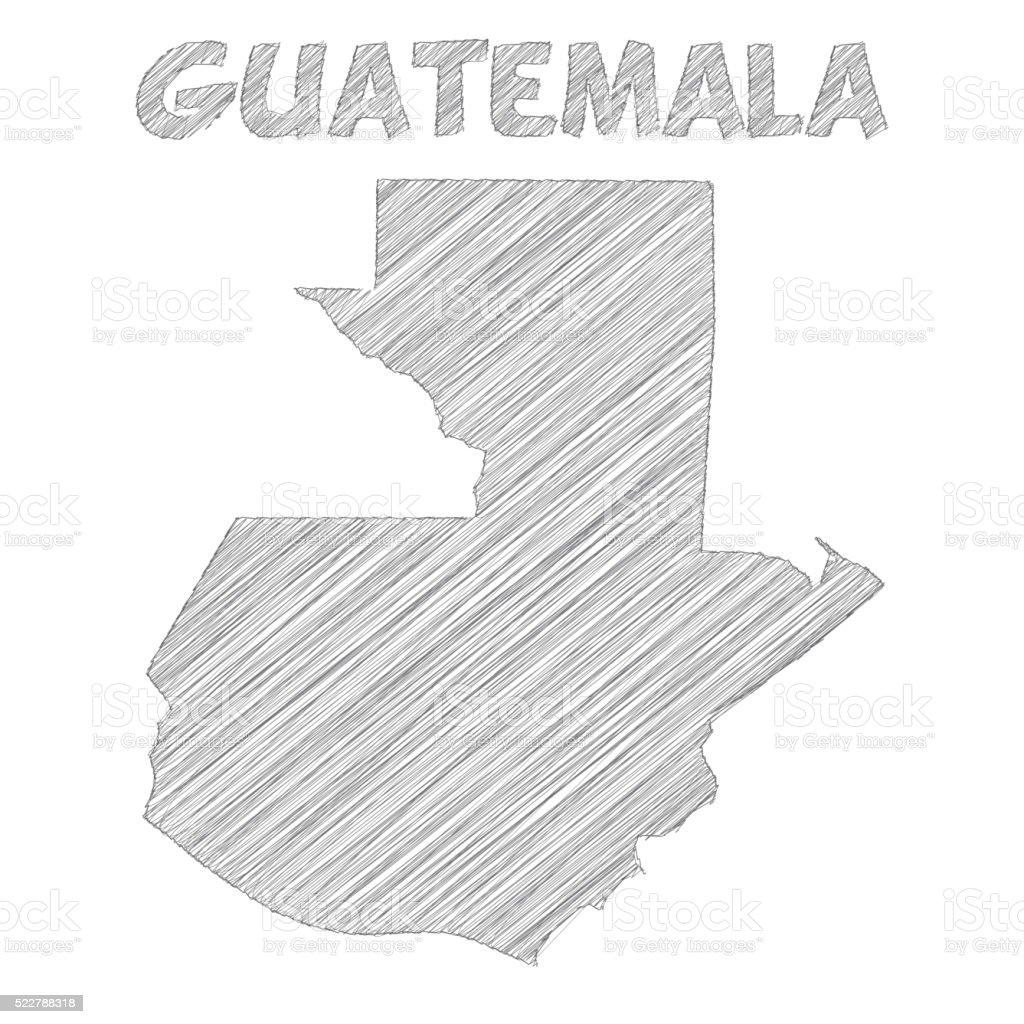 Guatemala map hand drawn on white background vector art illustration