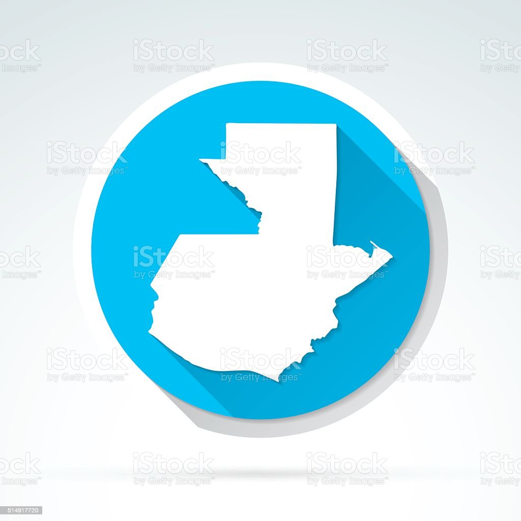 Guatemala map icon, Flat Design, Long Shadow vector art illustration