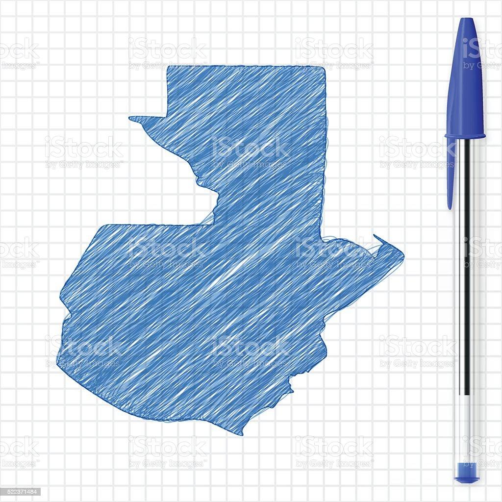 Guatemala map sketch on grid paper, blue pen vector art illustration