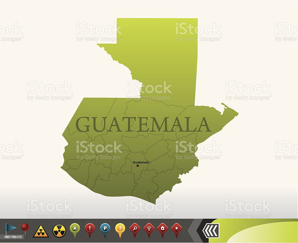 Guatemala map with navigation icons vector art illustration