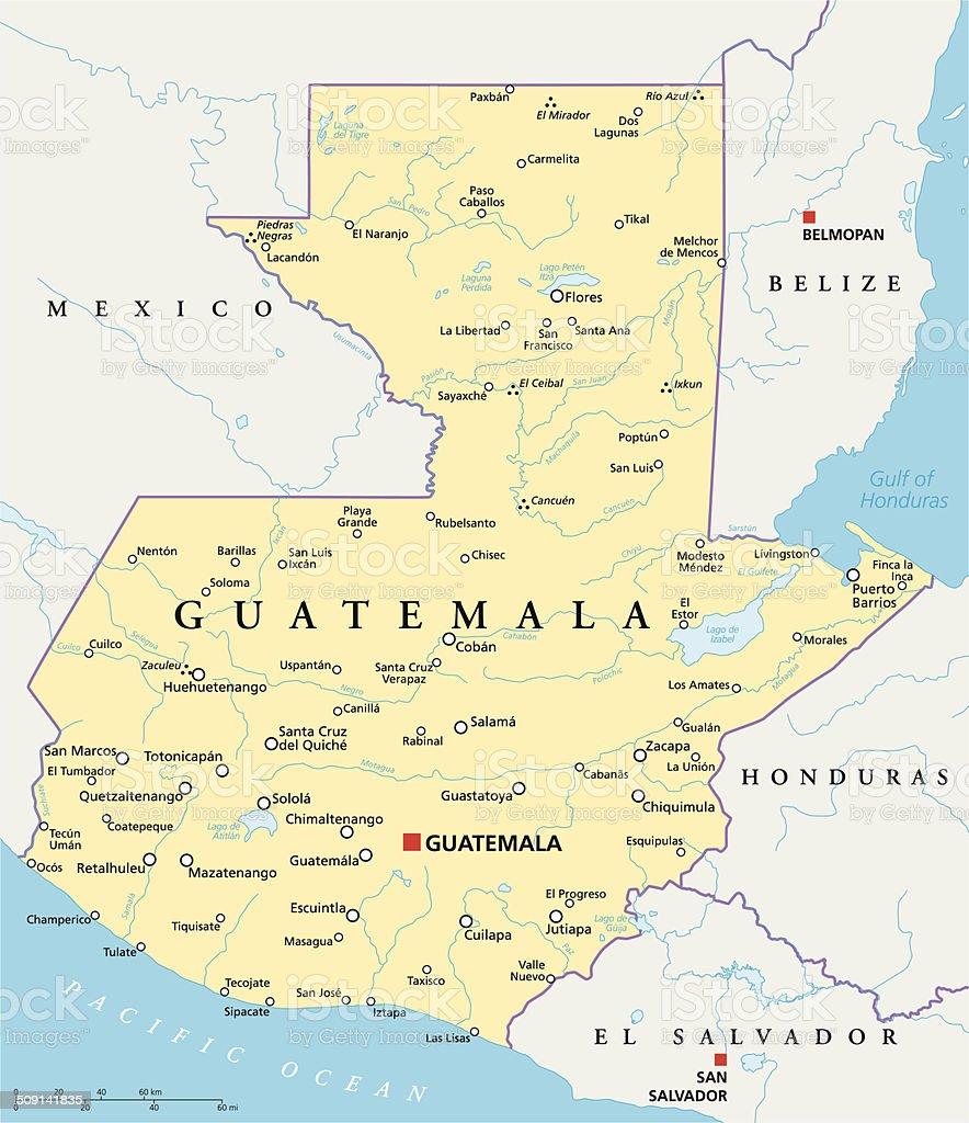 Guatemala Political Map vector art illustration
