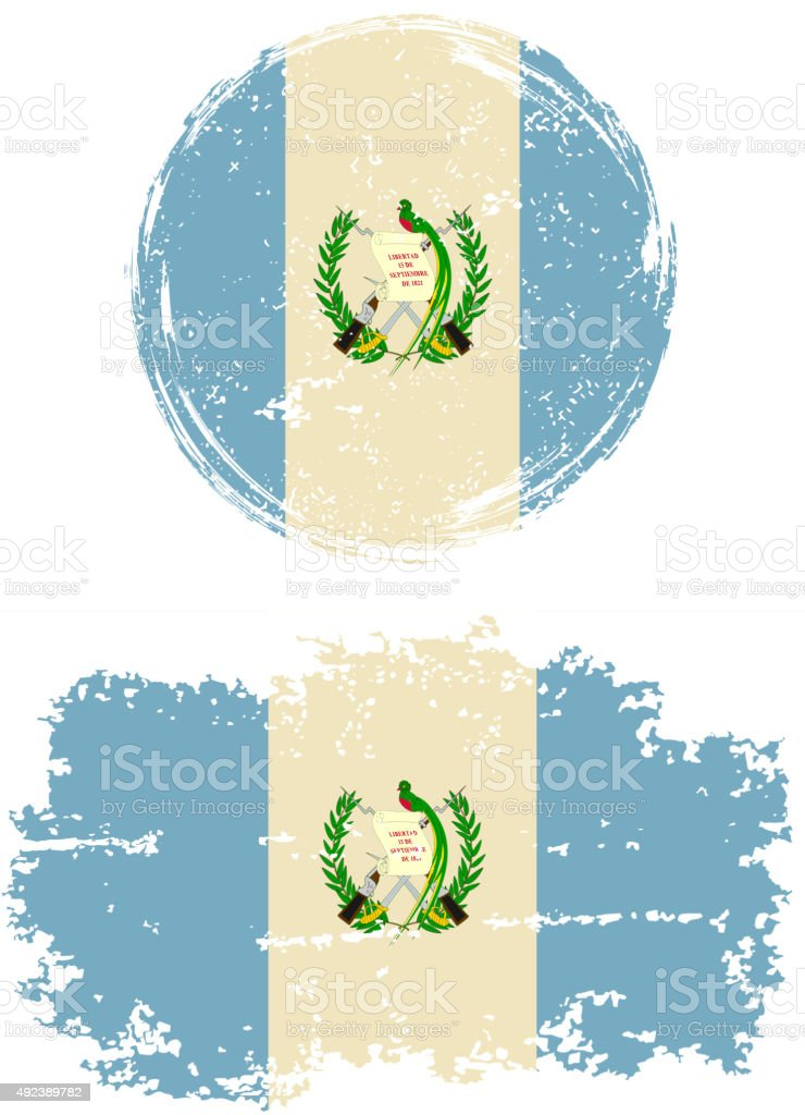 Guatemalan round and square grunge flags. Vector illustration vector art illustration
