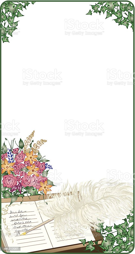 Guest Book Pen Frame C vector art illustration
