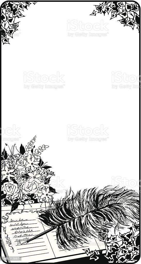 Guest Book Pen Frame vector art illustration