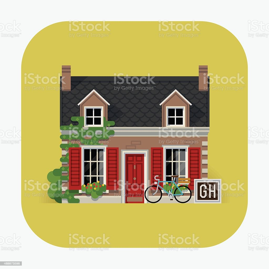 Guest house building travel web icon vector art illustration