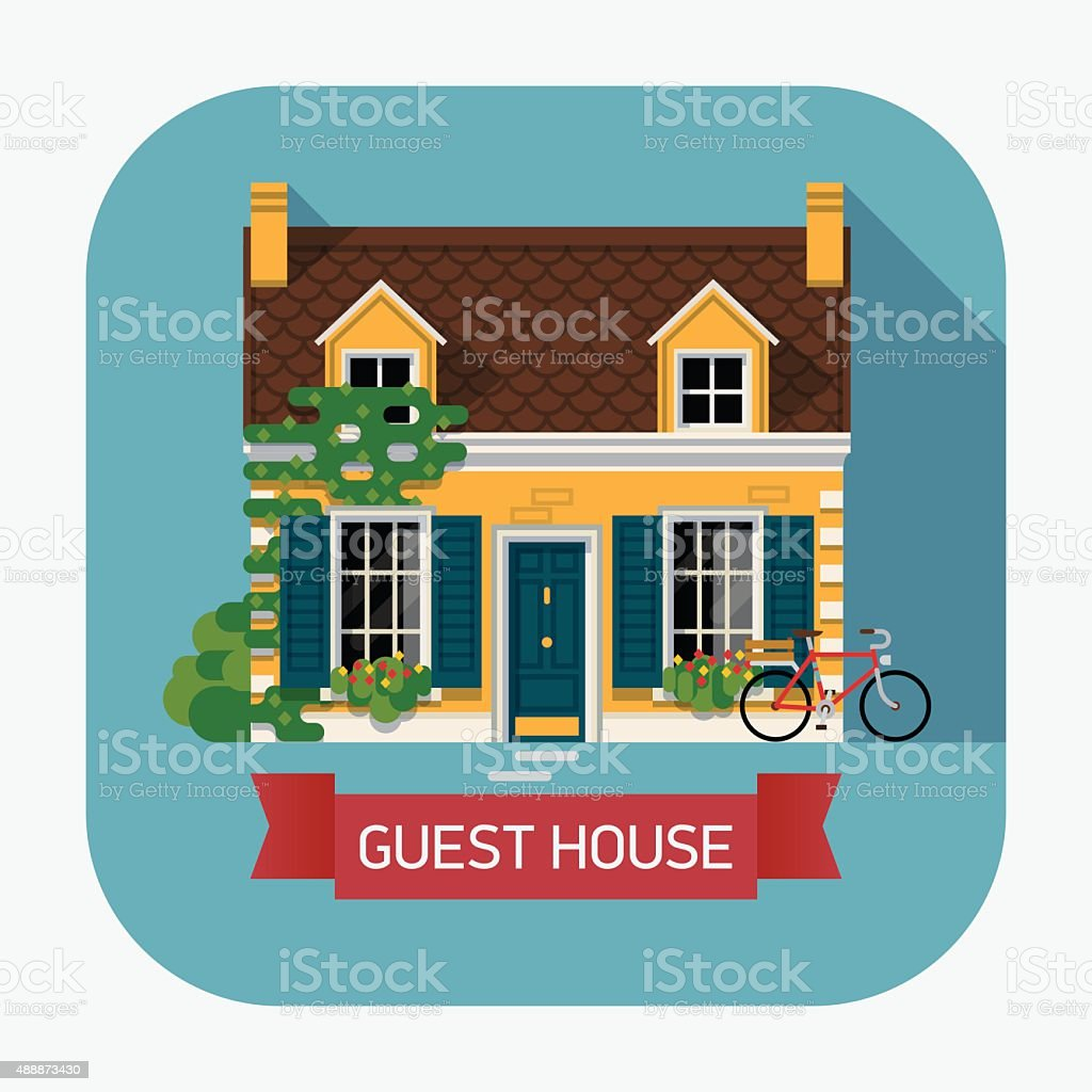 Guest house countryside lodging and accommodation web icon vector art illustration