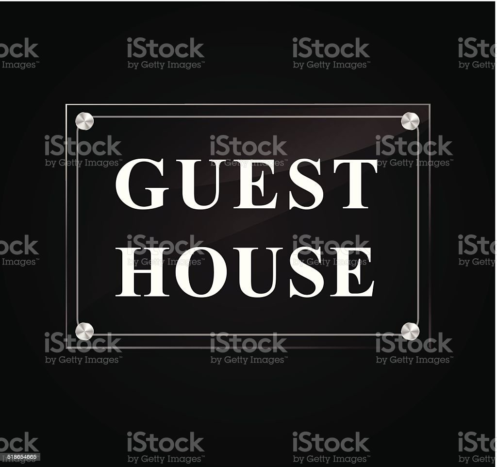 Guest house sign vector art illustration