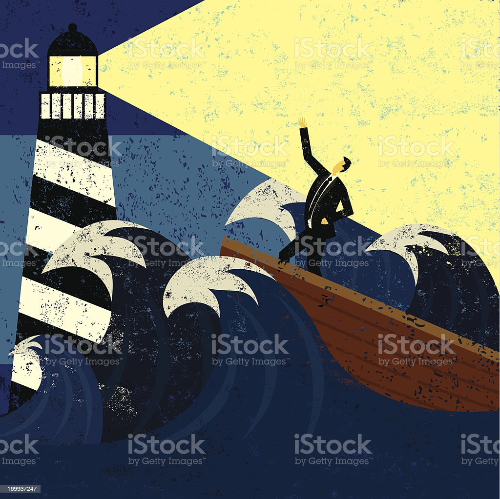 Guidance in a stormy sea vector art illustration
