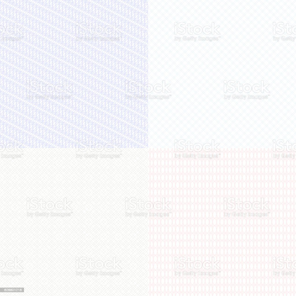 Guilloche patterns set vector art illustration