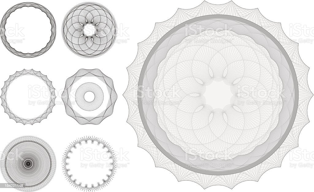 Guilloche patterns royalty-free stock vector art