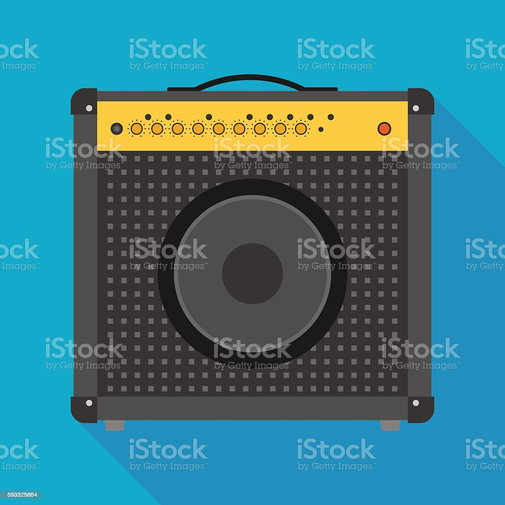 guitar amplifier icon with long shadow. flat style vector illustration vector art illustration