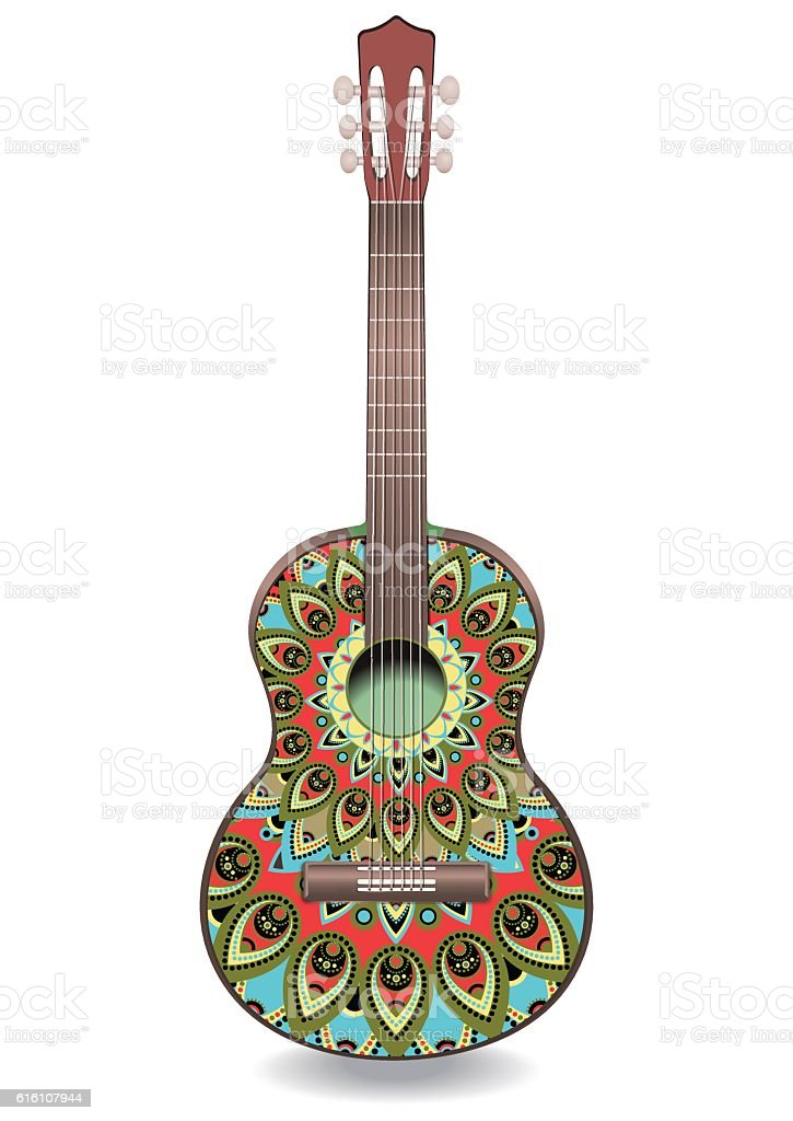 Guitar decorated with ethnic ornaments vector art illustration