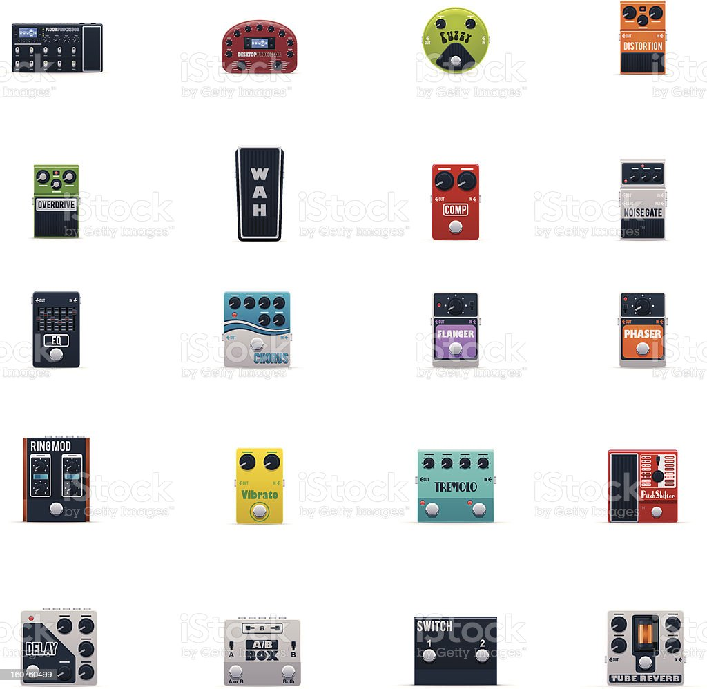 Guitar effects icons set royalty-free stock vector art