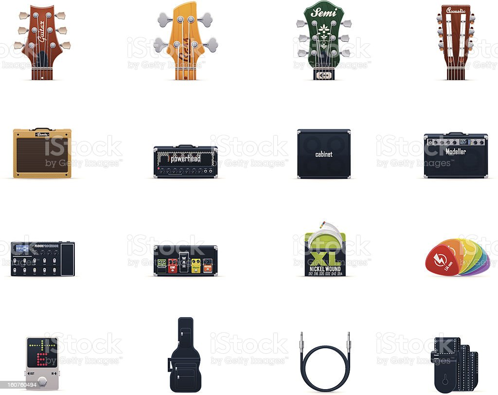 Guitar equipment icon set royalty-free stock vector art
