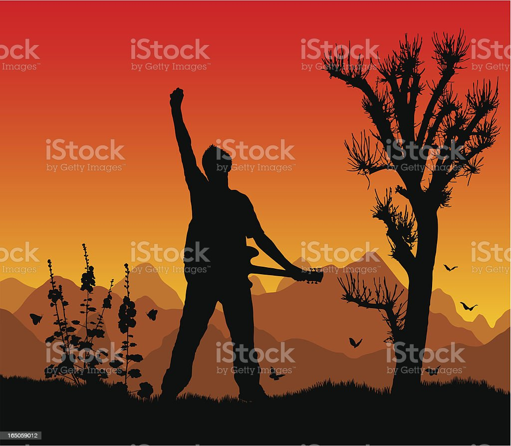 Guitar greatness at sunset vector art illustration
