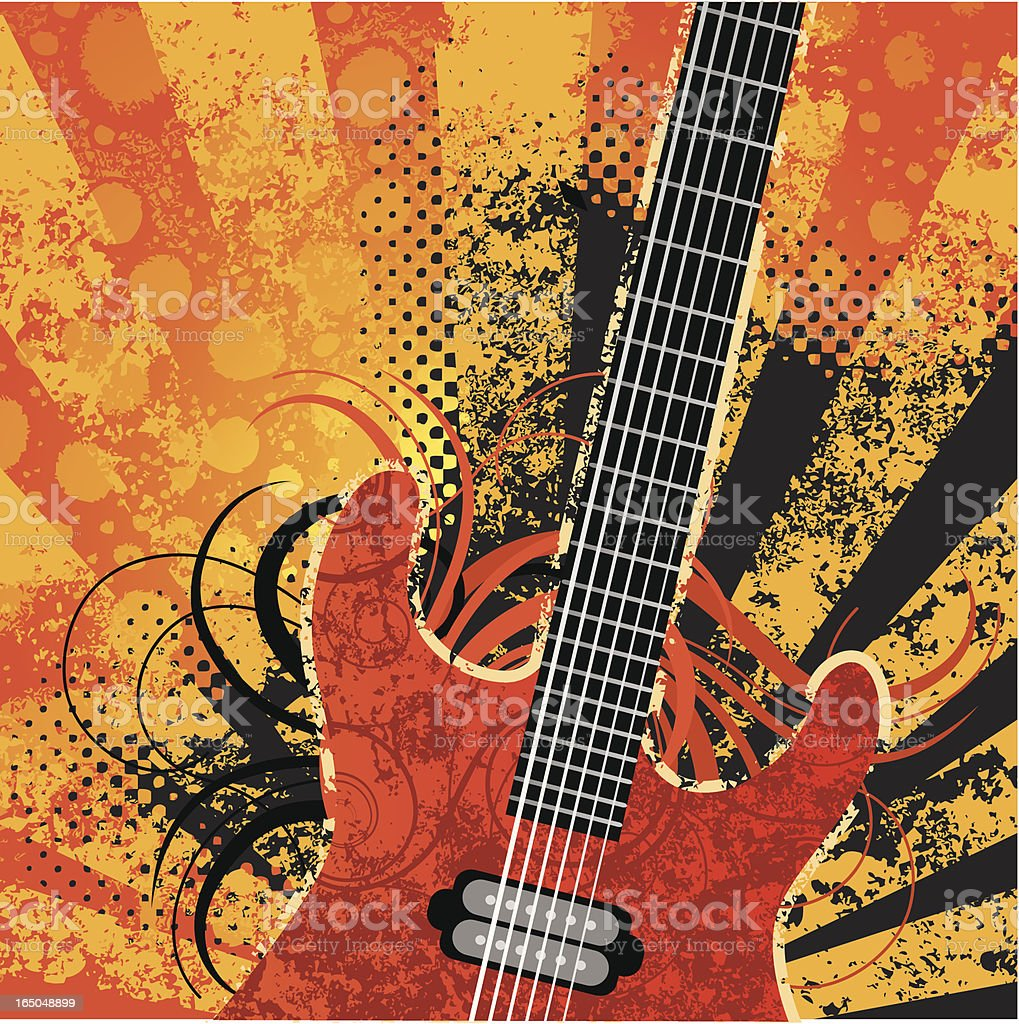 Guitar grunge vector art illustration