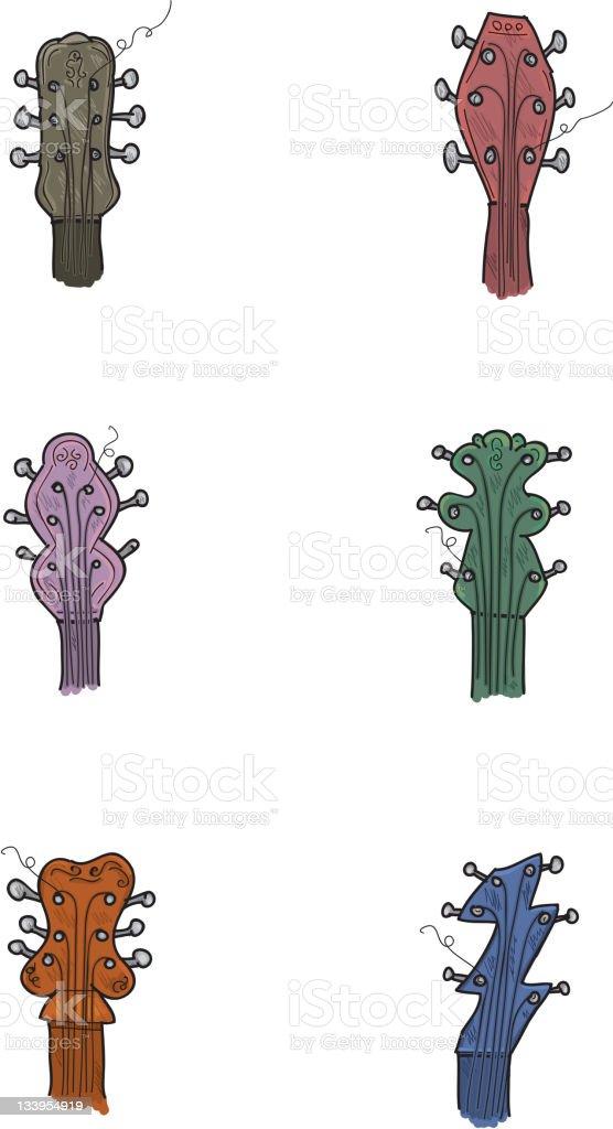 Guitar head icon set of six vector art illustration