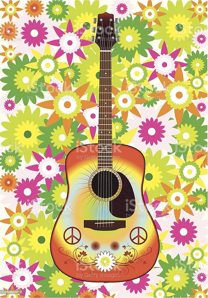 Guitar hippy vector art illustration