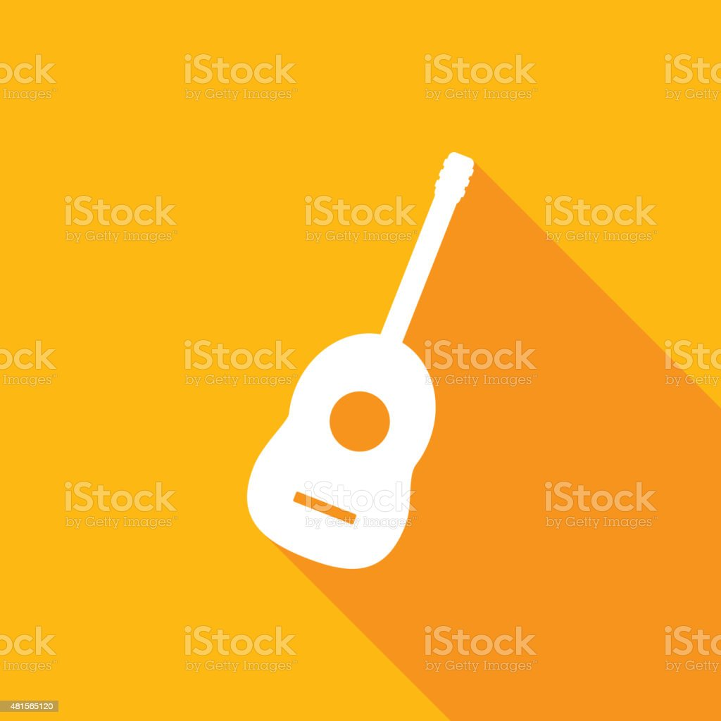 guitar icon with a long shadow vector art illustration