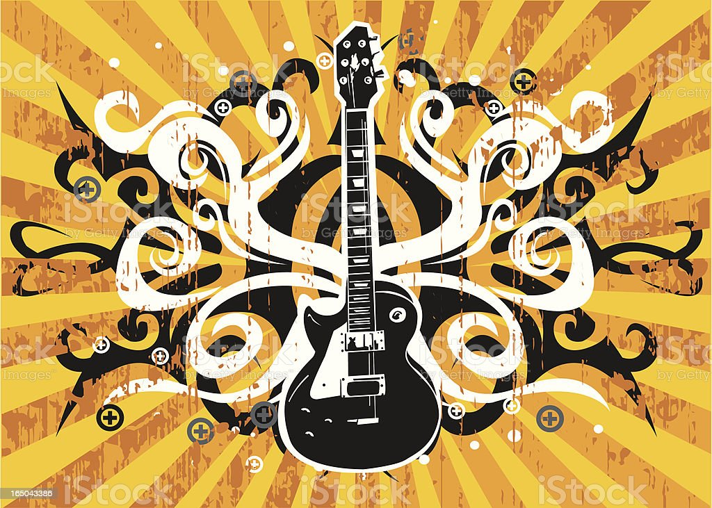 Guitar in Grungy design vector art illustration