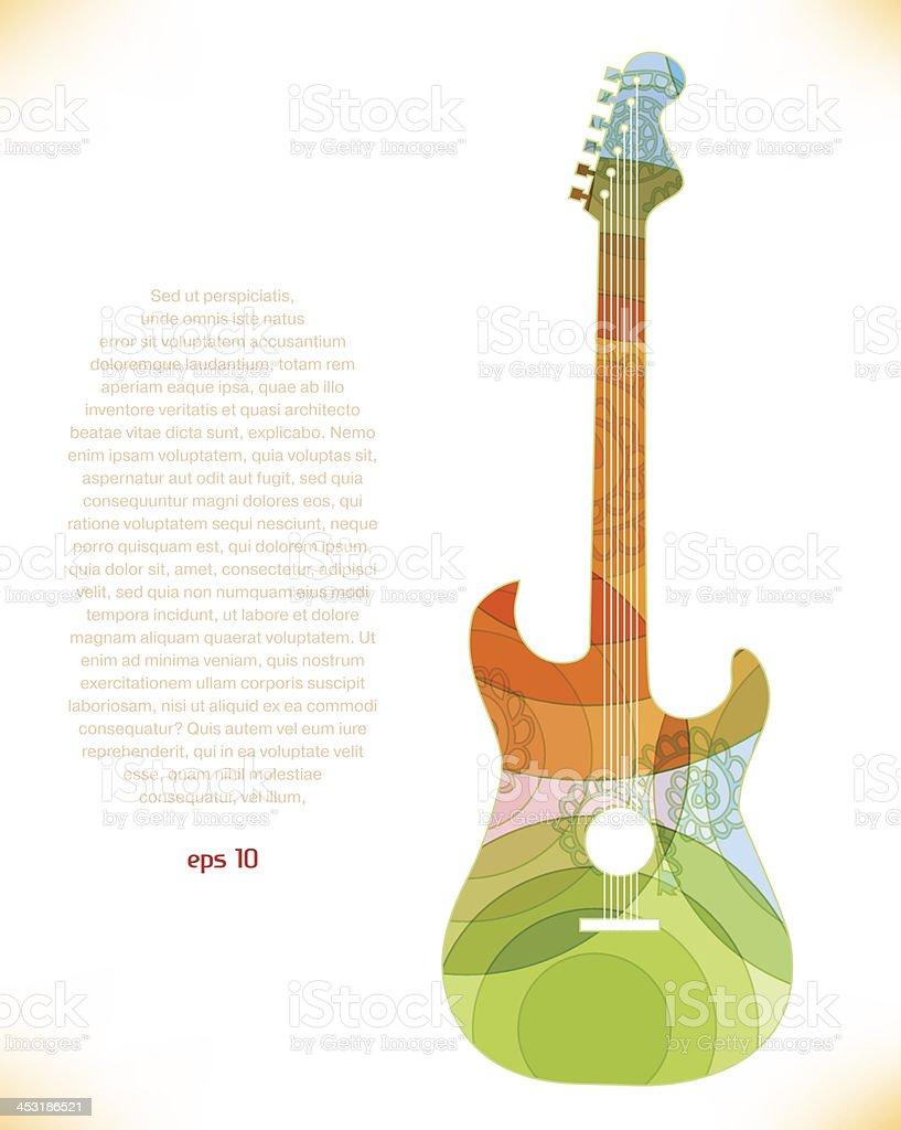 Guitar multicolor silhouette vector art illustration
