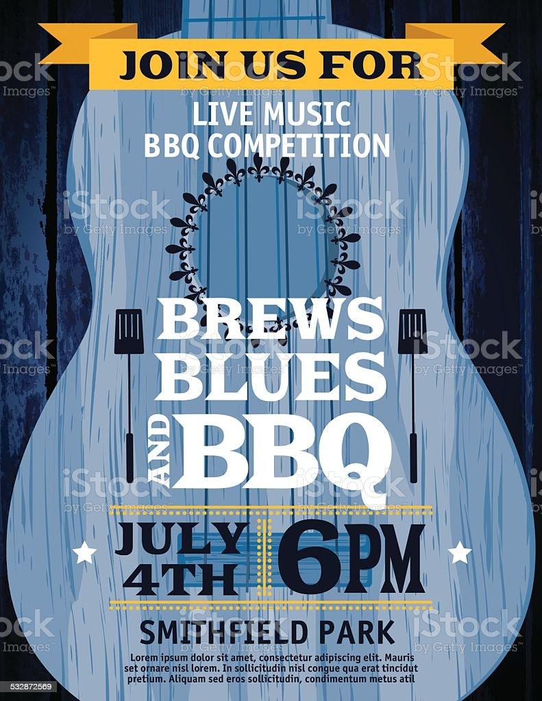 Guitar Music Barbecue Event Invitation Template vector art illustration