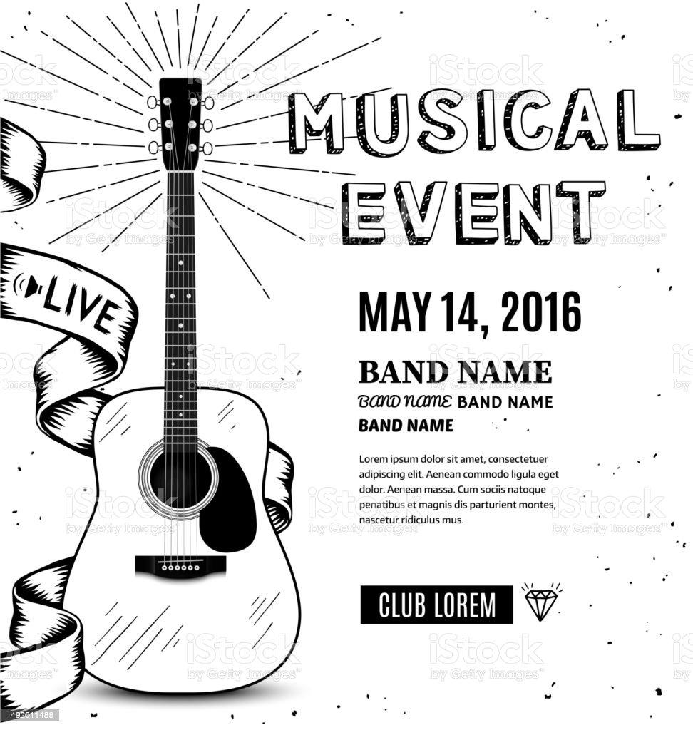 Guitar music poster. Hand drawn sketch vector illustration vector art illustration