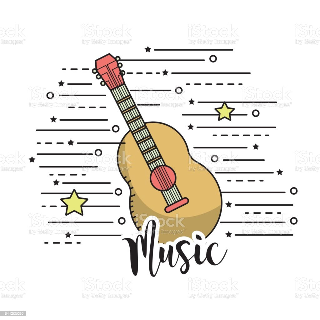 guitar musical instrument to play music vector art illustration