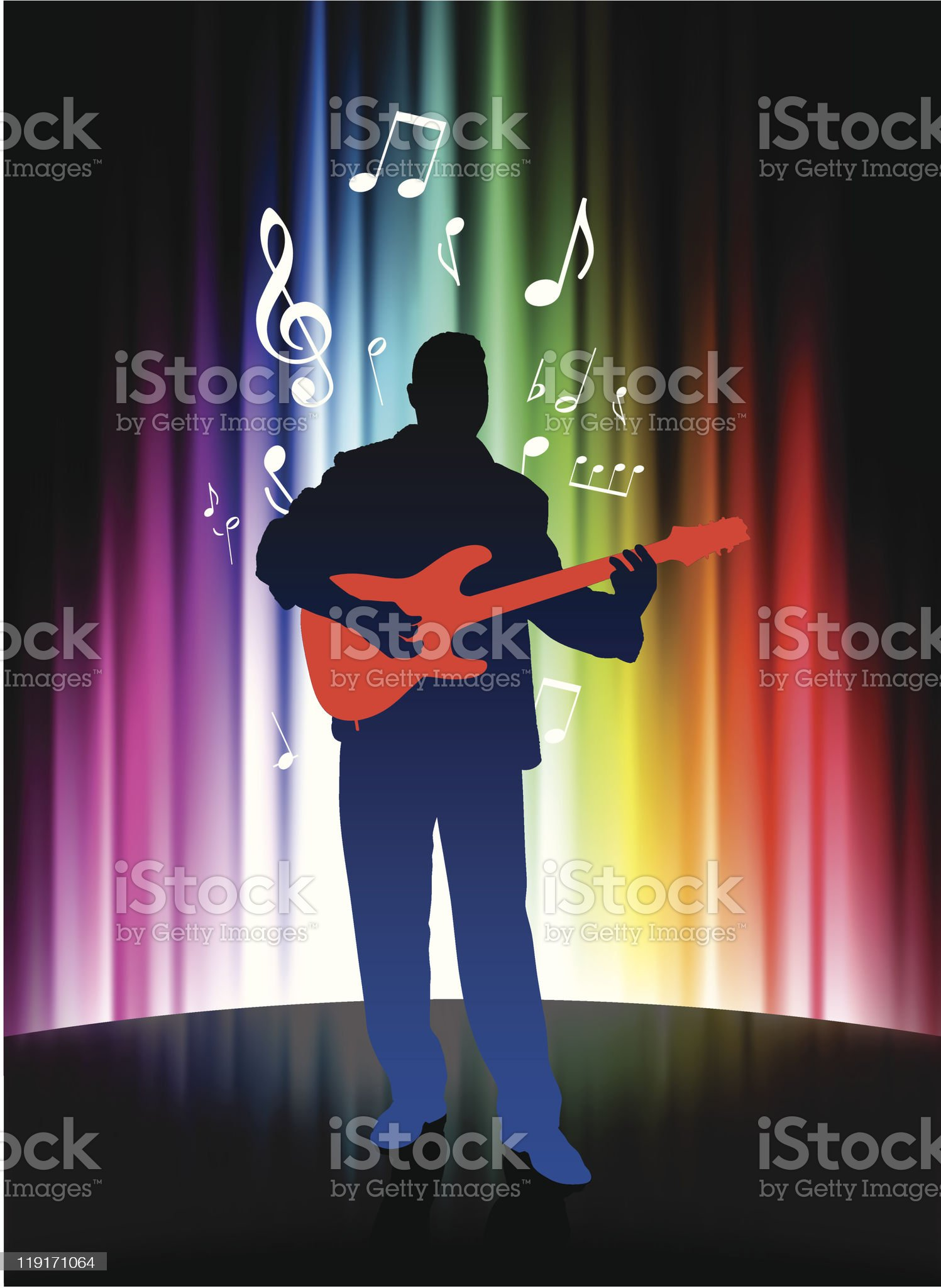 Guitar Musician on Abstract Spectrum Background royalty-free stock vector art