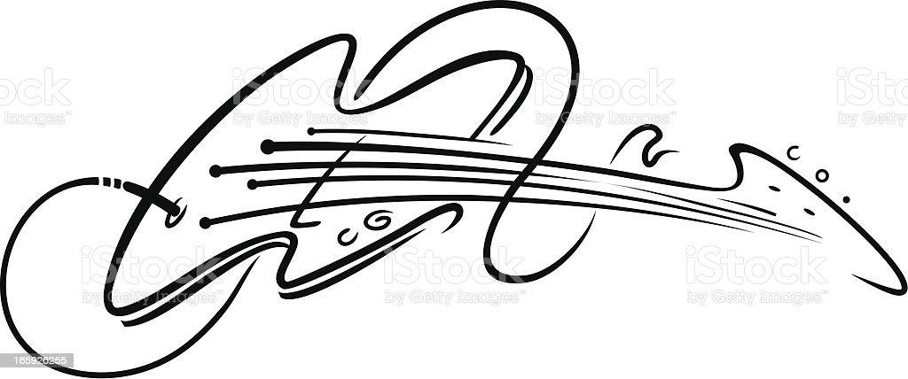 guitar outline vector art illustration