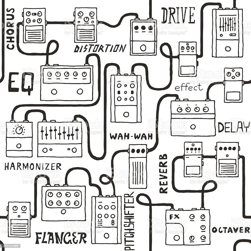 Guitar pedals seamless pattern. Hand drawn. Vector illustration. vector art illustration