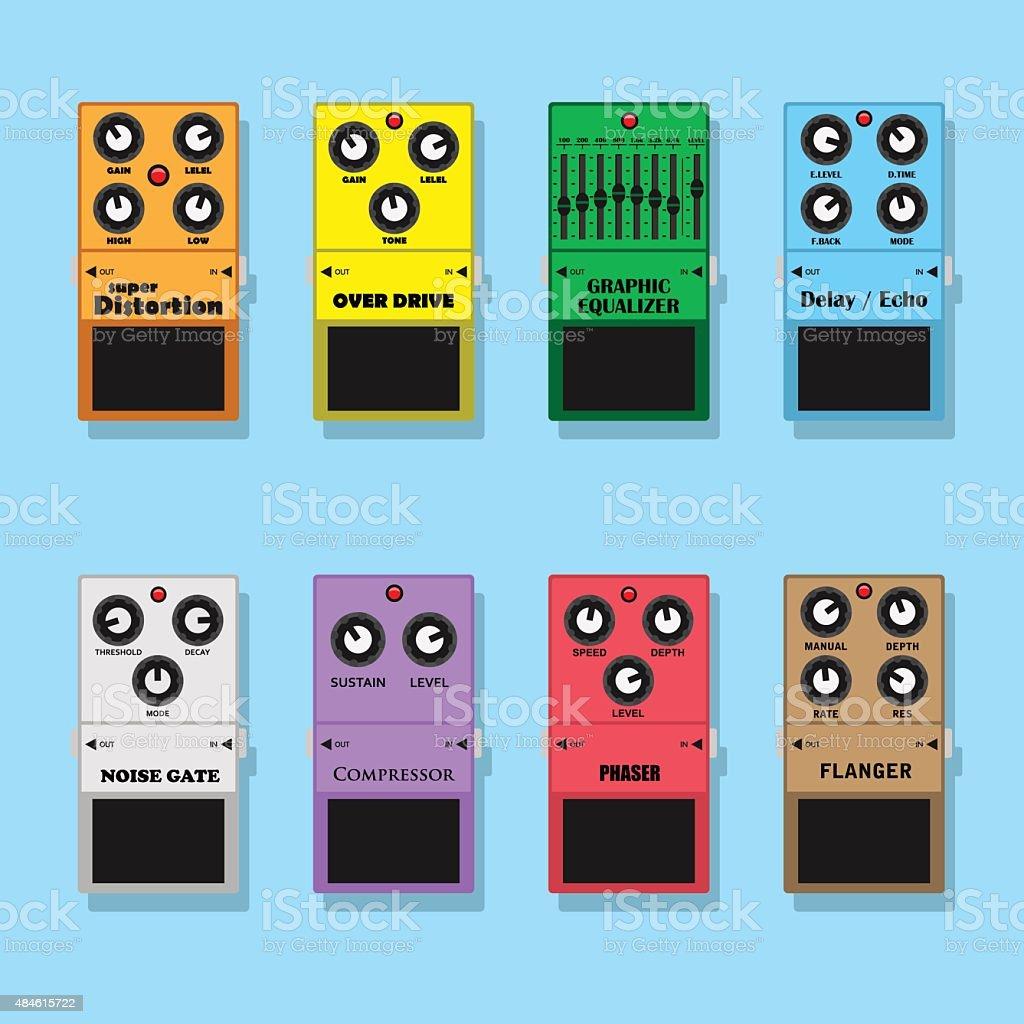 guitar pedals vector art illustration