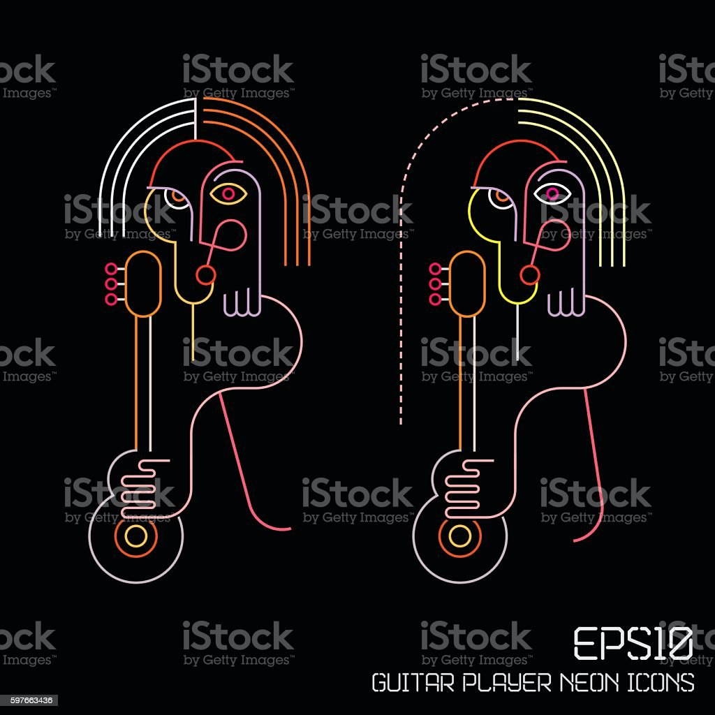 Guitar Player Neon Sign vector art illustration