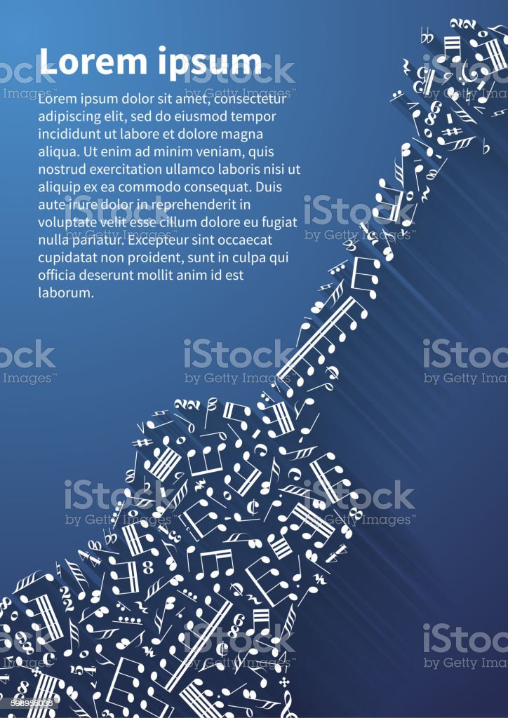 Guitar silhouette made up from music notes and signs on vector art illustration