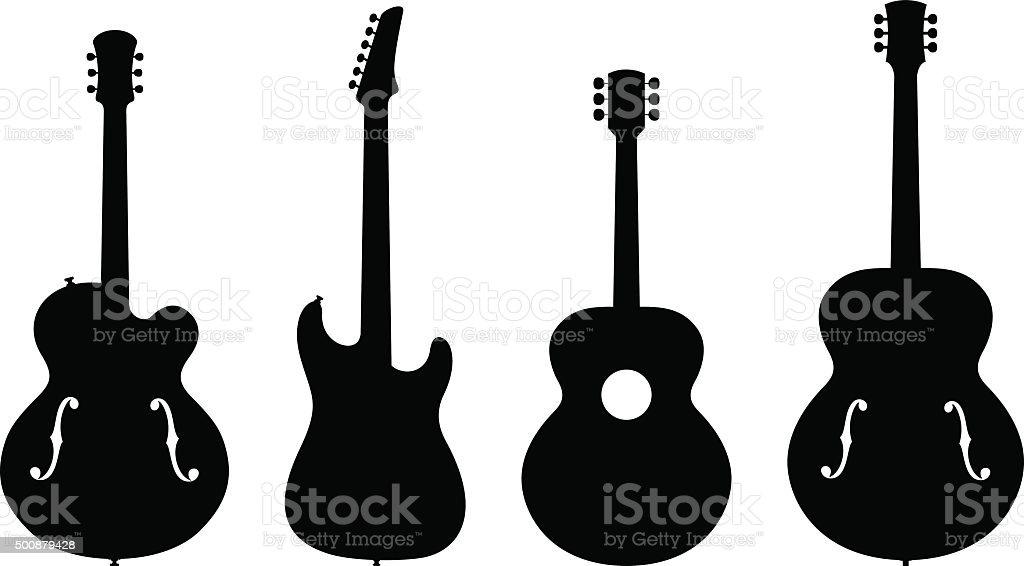 Guitar Silhouettes vector art illustration