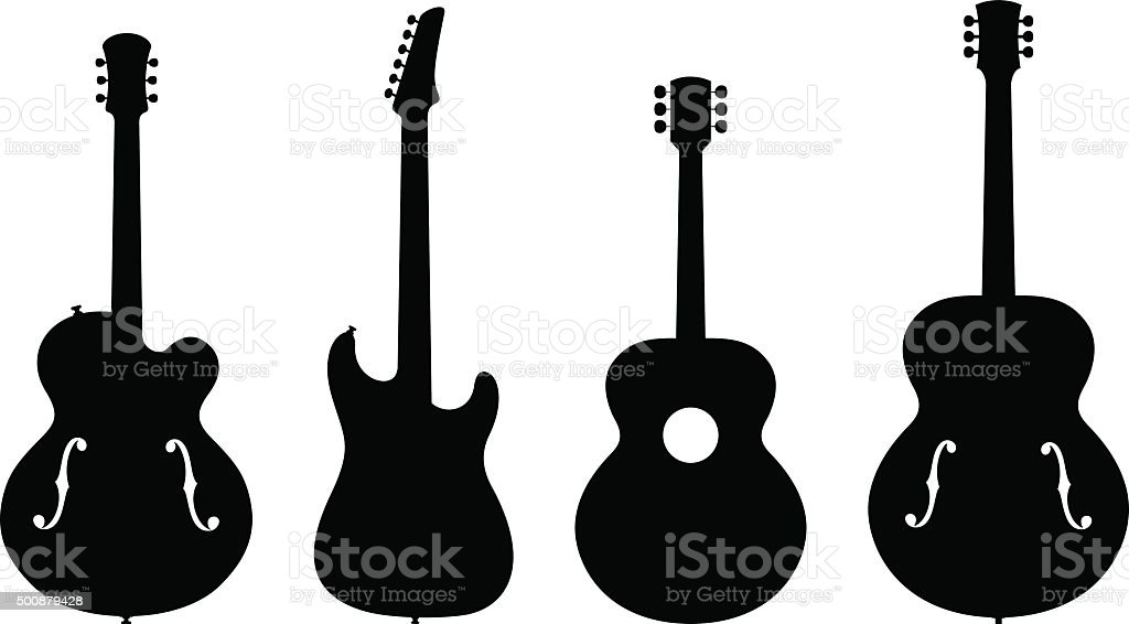 Guitar Silhouettes vector art illustration
