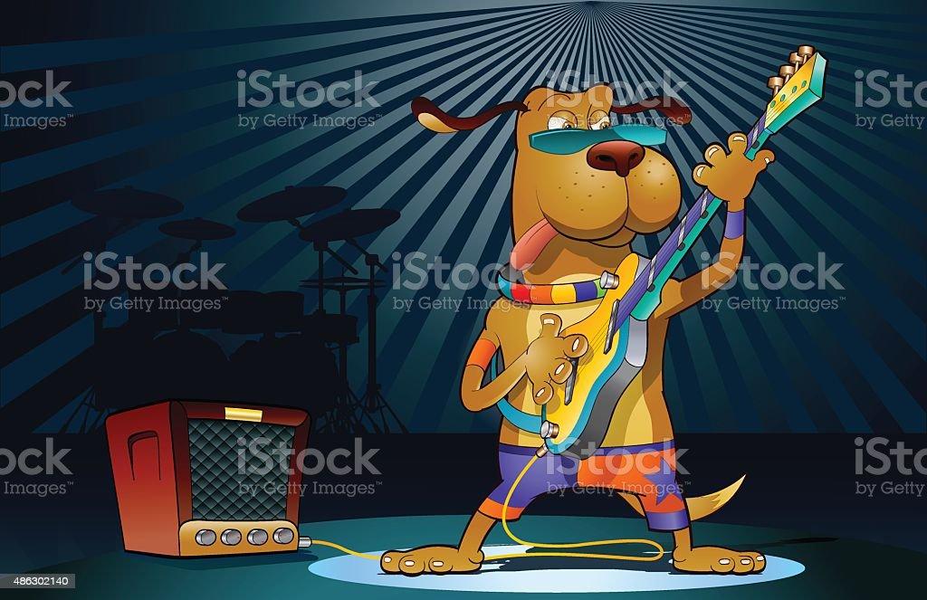 Guitar star vector art illustration