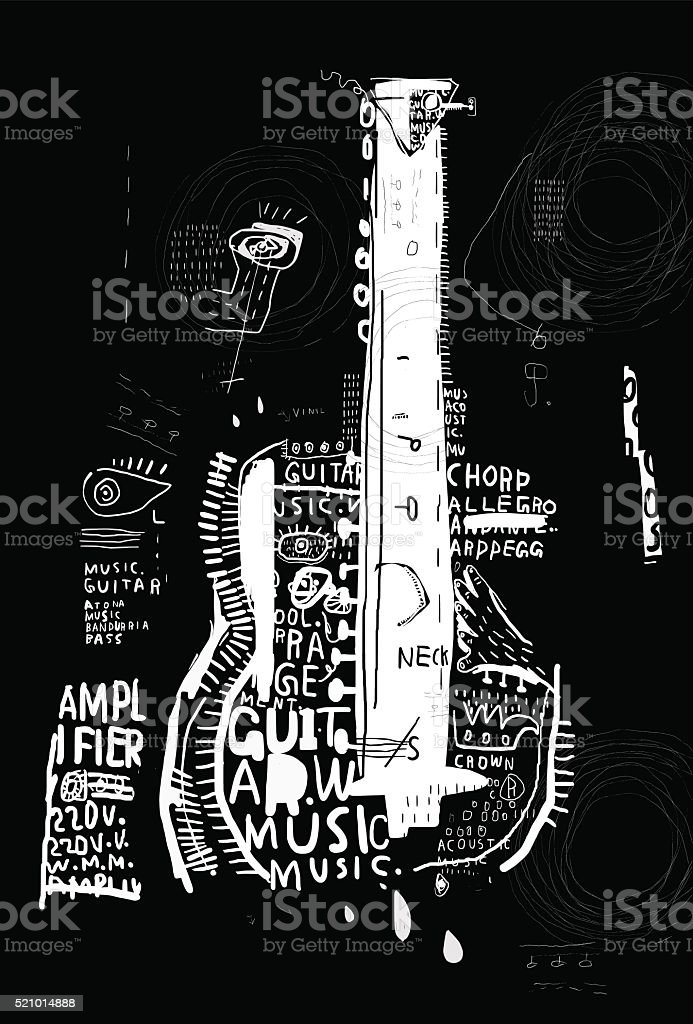 Guitar vector art illustration