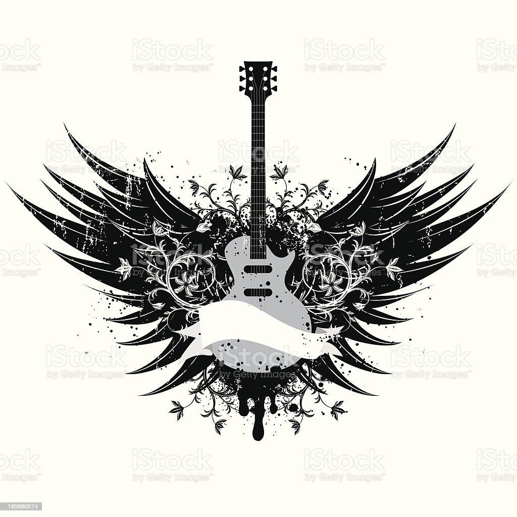 guitar wings insignia royalty-free stock vector art