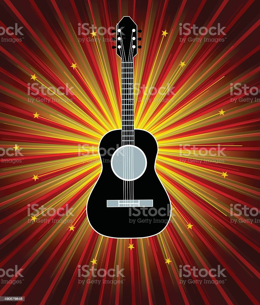 Guitar With Background vector art illustration