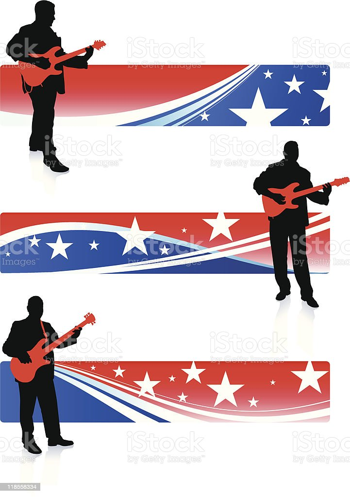 guitarist collection on patriotic internet banners vector art illustration