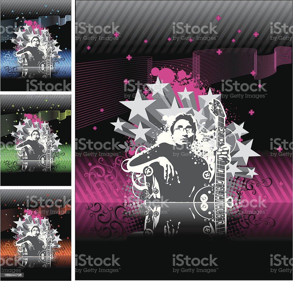 guitarist design (4 colors) royalty-free stock vector art