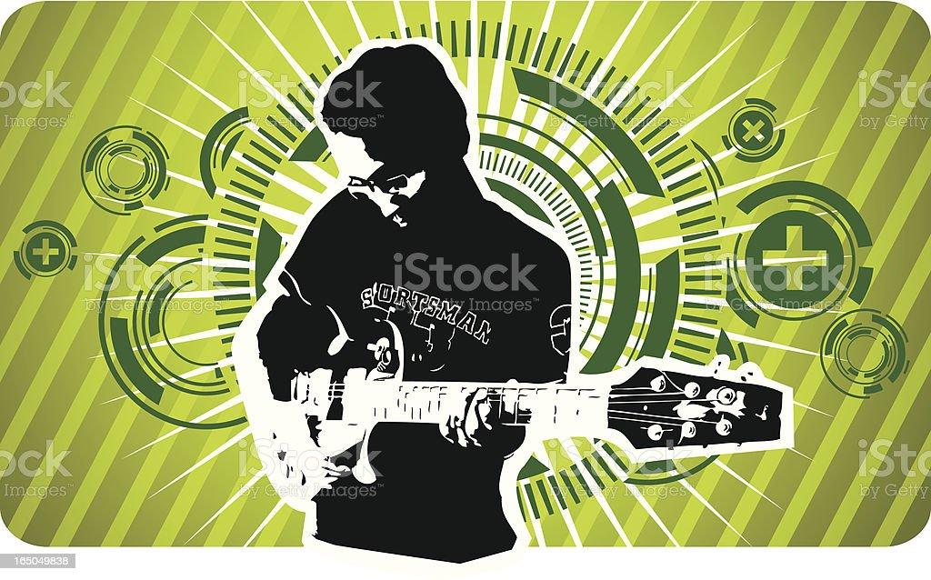 guitarist futuristic design royalty-free stock vector art